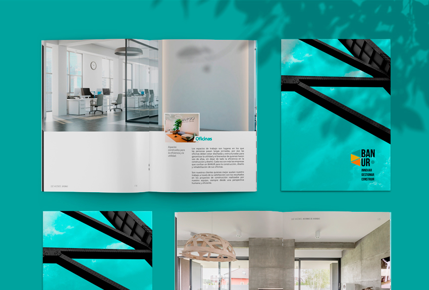 Diseño de catálogos, folletos y otros soportes comerciales para ferias internacionales de clientes y constructoras del área de Pamplona en Navarra Lady Moustache diseño gráfico, comunicación y copy y brand